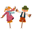 Two scarecrows look like girl and boy vector image vector image