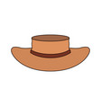 white background with straw hat with ribbon and vector image vector image