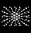 white halftone japanese rising sun icon vector image