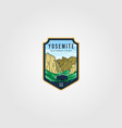 wild bison on yosemite national park logo outdoor vector image vector image