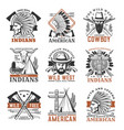 wild west cowboy american indians icons vector image vector image