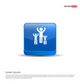 winner podium icon - 3d blue button vector image