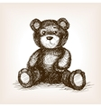 Teddy bear toy hand drawn sketch style vector image