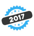 2017 stamp halftone icon vector image