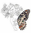 abstract face with butterfly one line drawing vector image