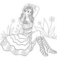 adult coloring bookpage a cute girl wearing vector image