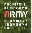 army alphabet stencil military font with numbers vector image