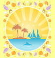 background summer card with yacht vector image