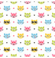 background with colorful cat heads and hearts vector image vector image