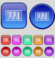 Barcode Icon sign A set of twelve vintage buttons vector image vector image