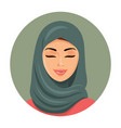 beautiful muslim arab woman portrait in green vector image