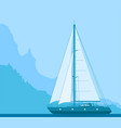blue sailing yacht vector image vector image