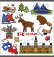 canada touristic map with sightseeings colorful vector image