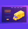 caravan camping color landing page template vector image vector image