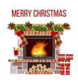Christmas fireplace and mullled wine Xmas vector image