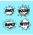 comic speech sound bubbles set with different vector image