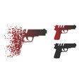 decomposed dotted halftone pistol gun icon vector image