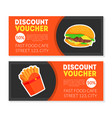 fast food discount voucher templates set vector image vector image