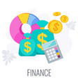 finance icon strategy management and marketing vector image vector image
