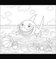 funny great white shark on a summer beach vector image