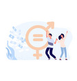 gender equality concept happy female and male vector image vector image