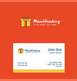 giftbox logo design with business card template vector image vector image