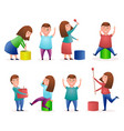 girls and boys with paints for happy holi vector image