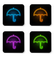 glowing neon umbrella icon isolated on white vector image vector image