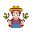 happy farmer logo agriculture farming natural vector image vector image