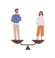 happy man and woman stand on weighing dishes of vector image