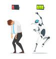 human businessman vs robot vector image vector image