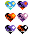 icons set tropical emblems in heart vector image vector image