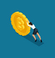 isometric business lady pushes a large coin vector image vector image