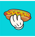 Llustration with hotdog and holding hand vector image