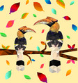 low poly colorful hornbill bird with tree vector image