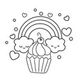 muffin and rainbow black and white vector image