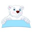 Polar Bear Holding a Sign vector image vector image