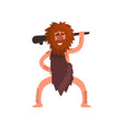 primitive caveman with wooden club stone age vector image vector image