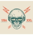 Retro label with skull in headphones vector image vector image