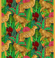 seamless pattern with jaguars tropical vector image vector image