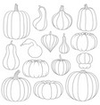 set black and white images with pumpkins vector image vector image