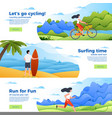 set of banners - bike surfing and running vector image