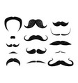 set of different styles of mustache isolated on vector image vector image