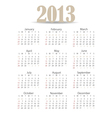Simple 2013 year calendar vector image vector image