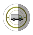 sticker with circular shape with truck and wagon vector image vector image