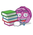 student with book red cabbage mascot cartoon vector image vector image