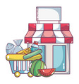 supermarket grocery products cartoon vector image vector image