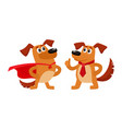 two dog characters in superhero cape thumb up vector image vector image