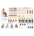 young disabled woman in wheelchair constructor or vector image vector image