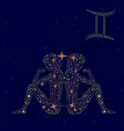 Zodiac sign Gemini over starry sky vector image vector image